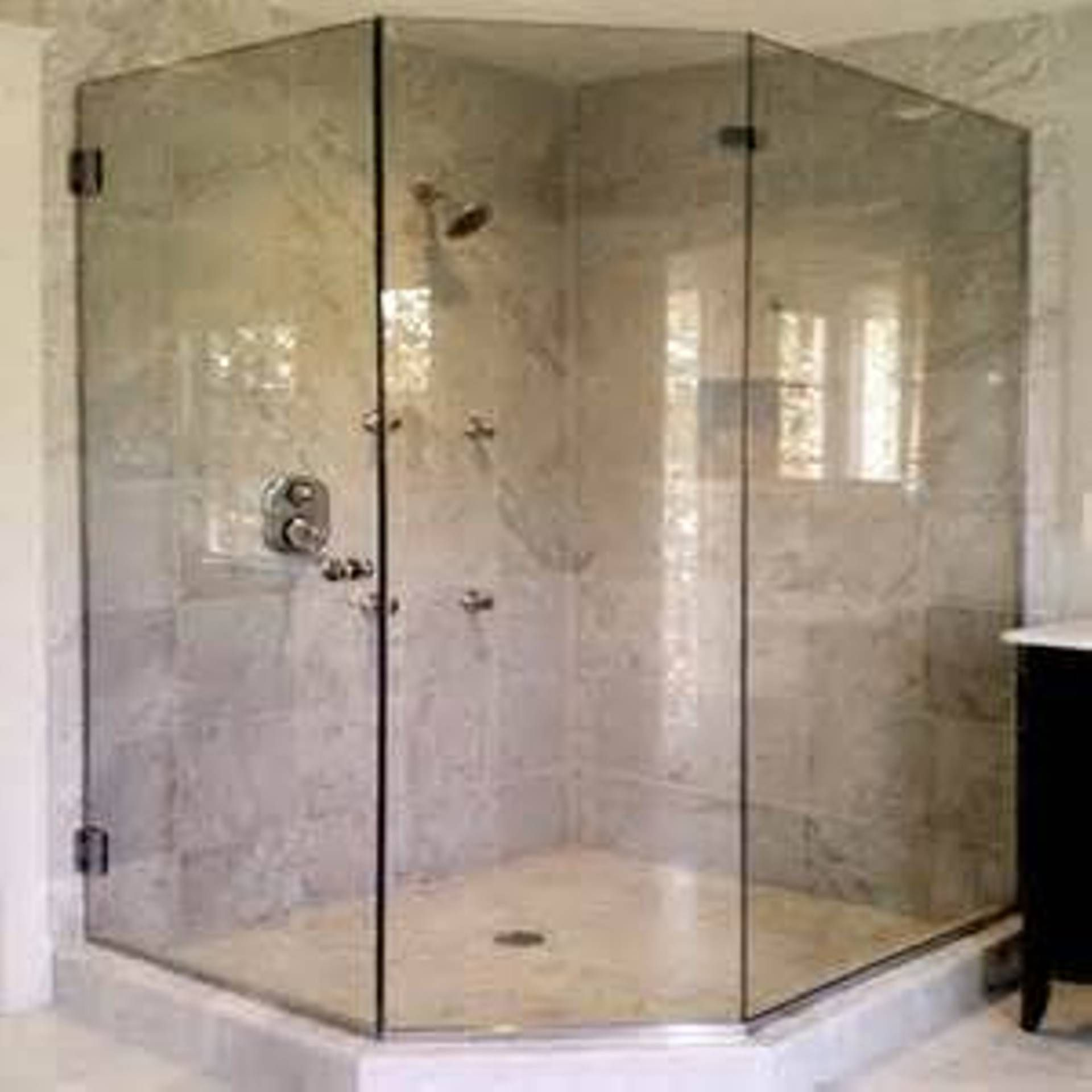 Frameless With Brackets 3 8 Thickness Glass Bathroom
