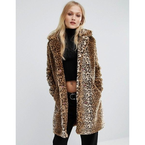 First & I Leopard Faux Fur Coat ($53) ❤ liked on Polyvore ...