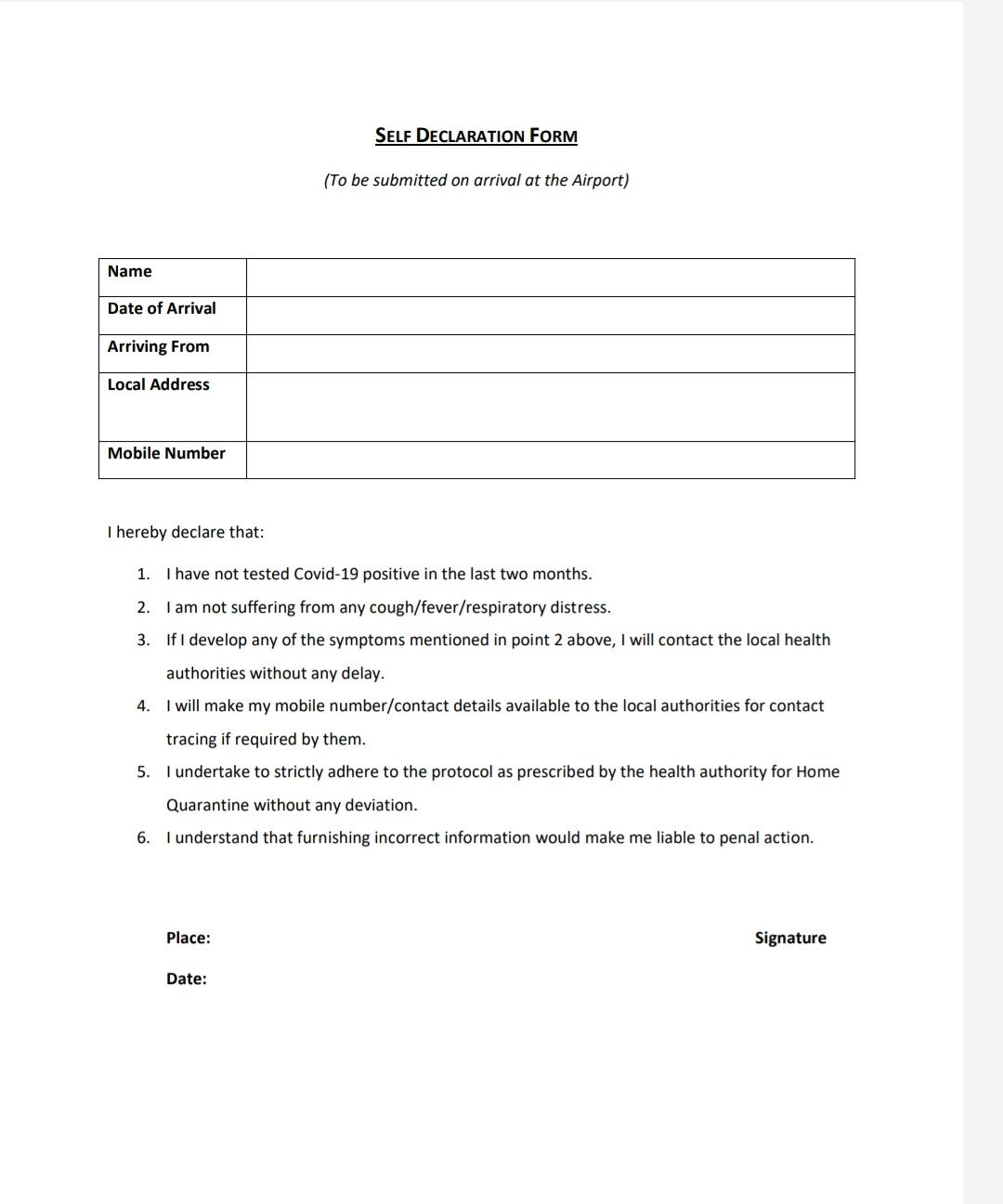 Self Declaration Form For Domestic Air Travellers Travelobiz Self Domestic Flights Declaration