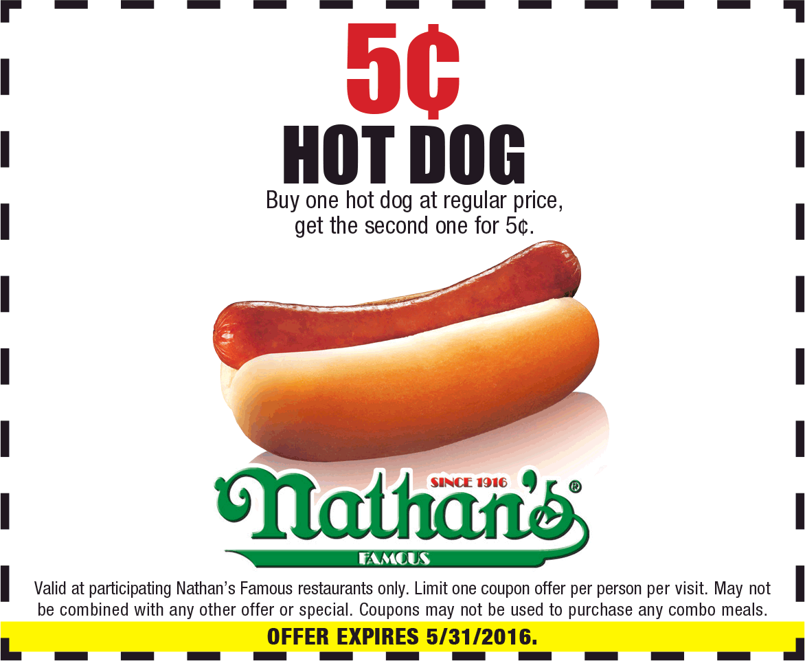 photo relating to Nathans Hot Dog Printable Coupons referred to as Pinned May possibly 28th: Instant incredibly hot puppy for a nickel at
