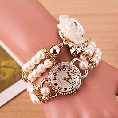 vrouwen ronde bloemen quartz hand bovenleiding horloge (verschillende kleuren) - EUR € 12.87