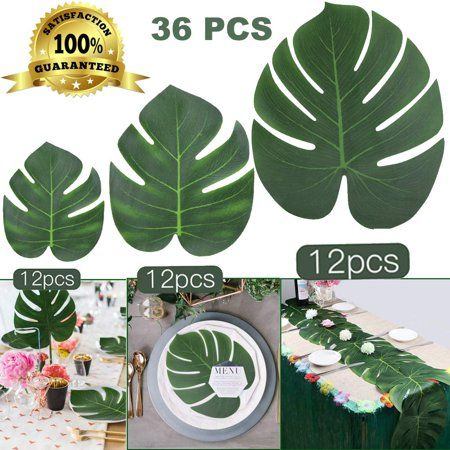 Coolmade 36Pcs Tropical Palm Leaves Plant Imitation Artificial Leaf Hawaiian Luau Party Jungle Beach Theme BBQ Birthday Party Table Decorations (12 Small +12 Middle+ 12 Large) 3 Sizes - Walmart.com