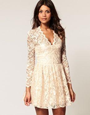 long-sleeve lace dress.