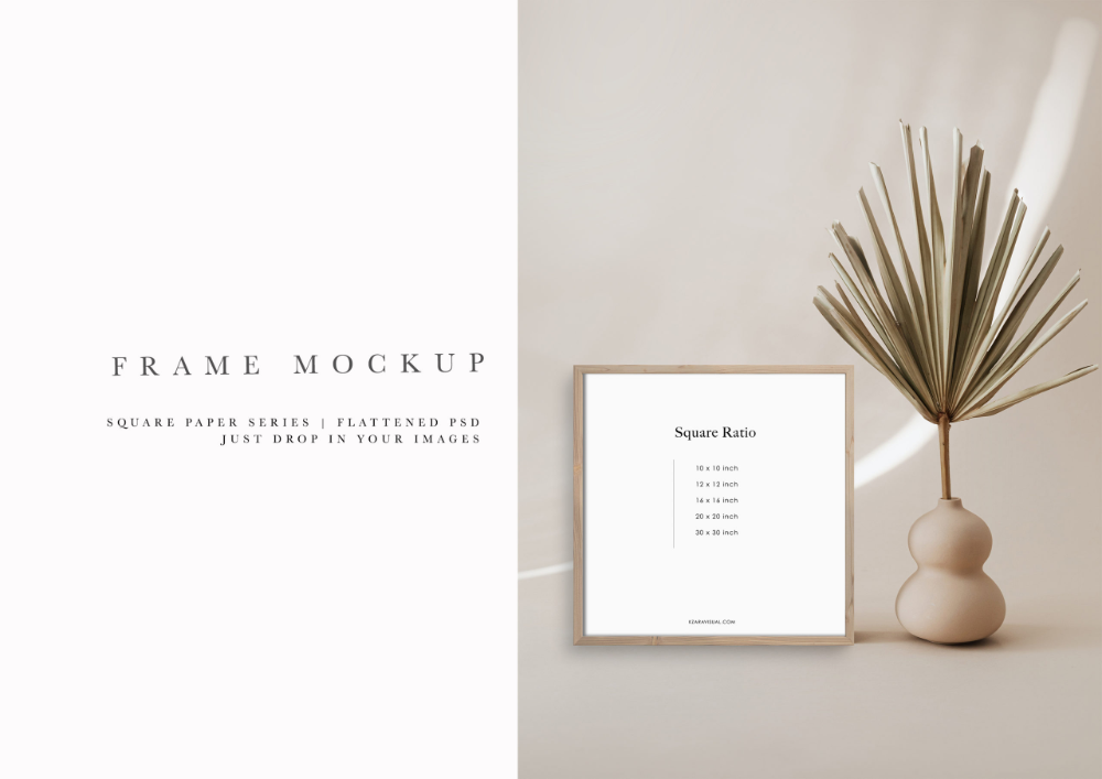 Frame Mockup 315 Beige Wood Square Photo Frame Styled Thin Frame Mock Up Square Wall Art Display Psd Smart Object Filtergrade In 2020 Square Wall Art Frame Mockups Photo Frame Style