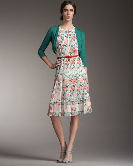 0849902878 Pleated Floral-print Dress - Lyst