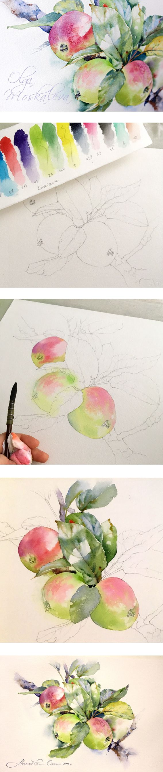 Apples in the snow on Behance Watercolor art, Apple
