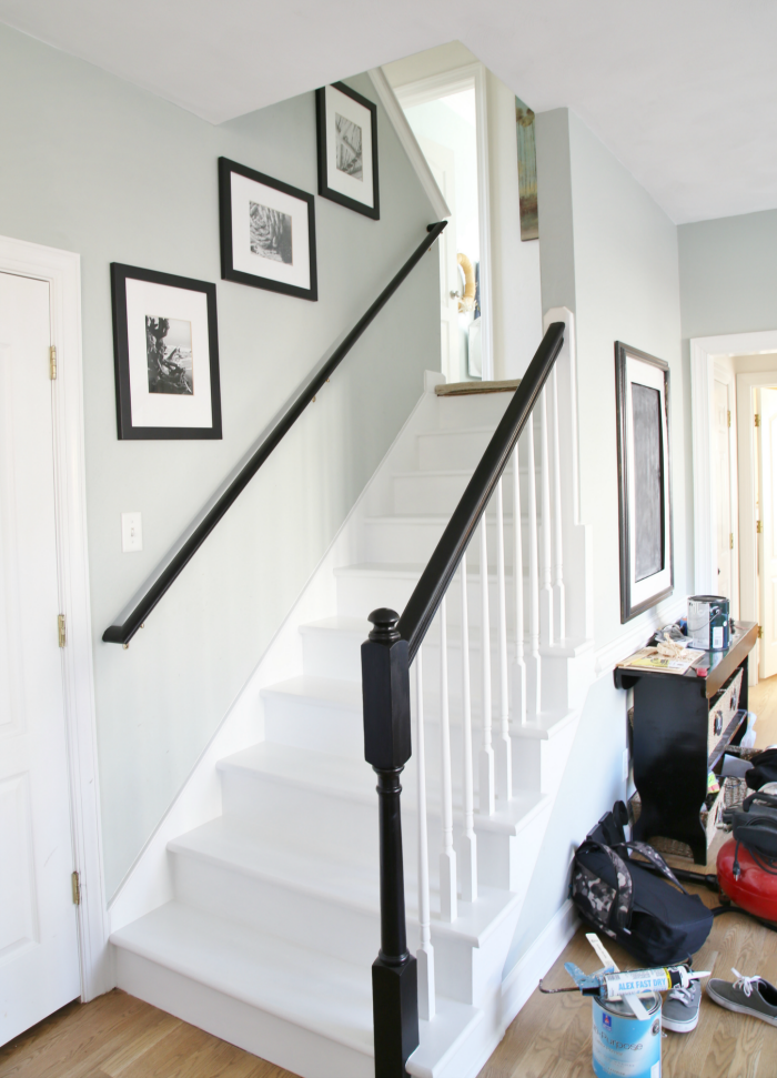 Exceptional Painted Staircase Makeover With Seagrass Stair Runner