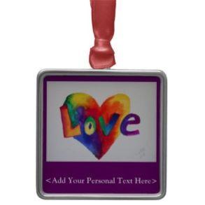 Love Word Rainbow Heart Custom Ornament Design