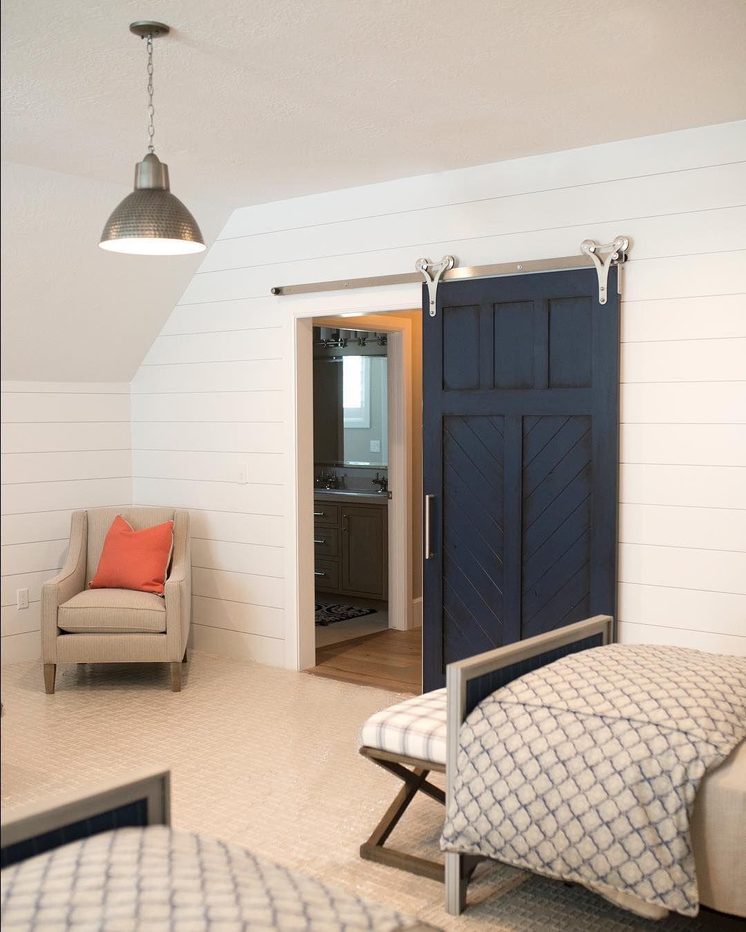 Navy Barn Door In Kids Room With Robert Nelson
