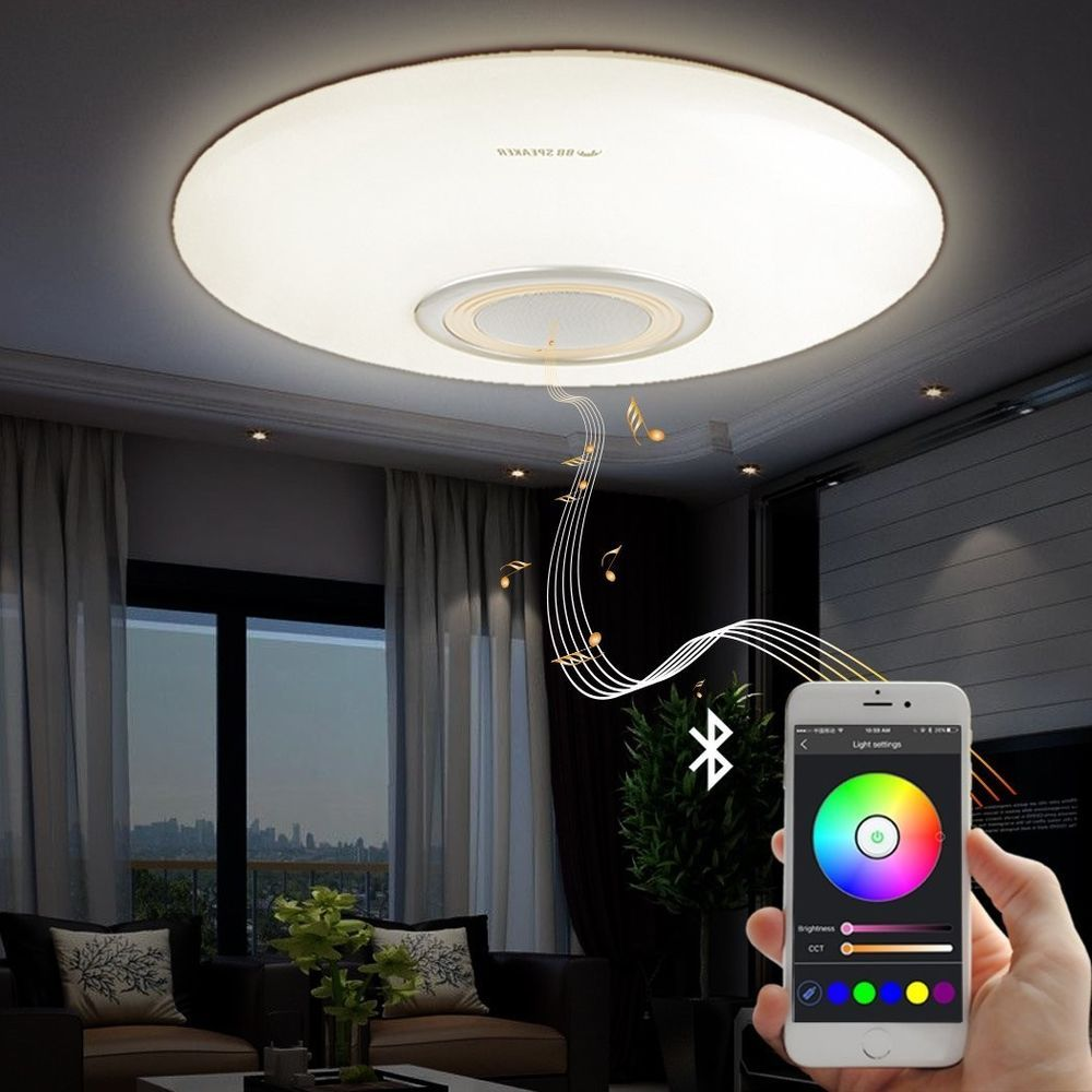 Modern Led Ceiling Light Bluetooth Speaker 23 Living Room Bedroom Lobby Lamp Bbspeaker Modern Party Lights Modern Light Fixtures Ceiling Lights