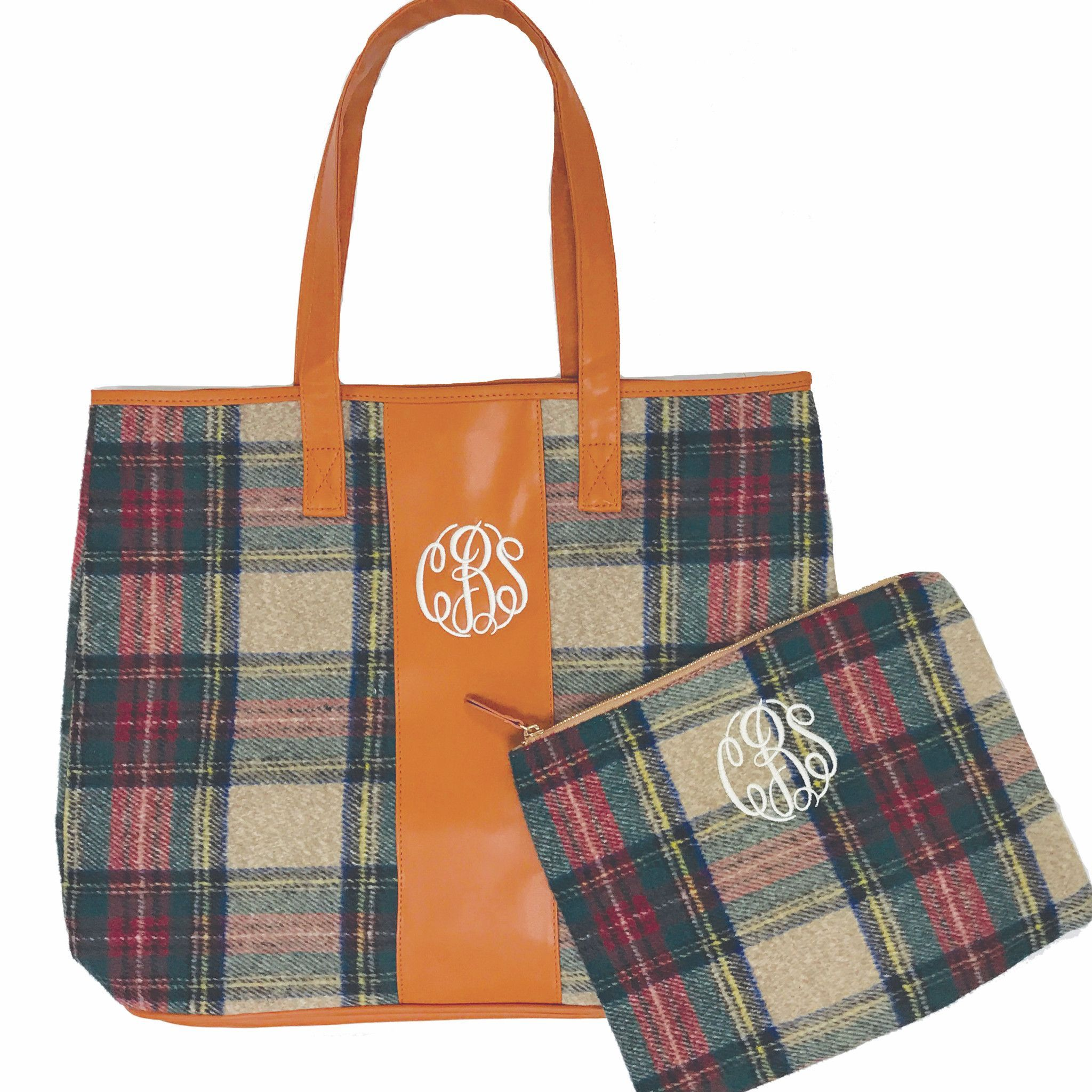Monogrammed Plaid Tote and Cosmetic Bag Set Cosmetic bag