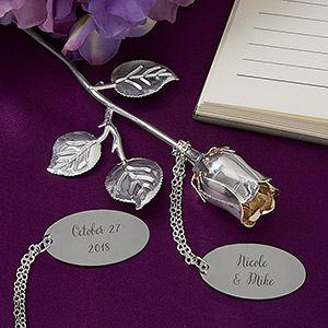 Happy Couple Engraved Silver Keepsake Rose