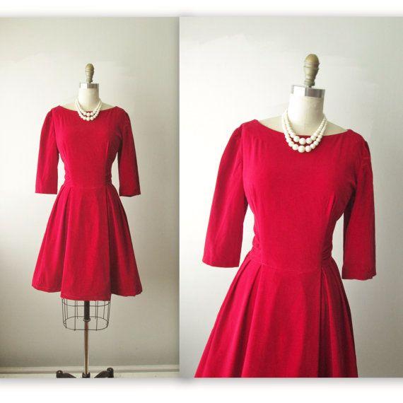 50 s Velvet Dress    Vintage 1950 s Ruby Red Velvet Cocktail Party Holiday  Dress M on 77e8e6a91