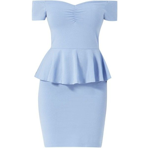 Pale Blue Bardot Neck Peplum Mini Dress (32 MYR) ❤ liked on Polyvore featuring dresses, cocktail dresses, bodycon mini dress, evening dresses, evening cocktail dresses and bodycon dress