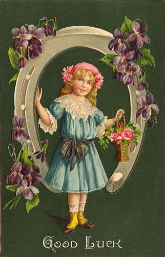 St Patrick's Postcards / Vintage Clip Art: Good Luck Card