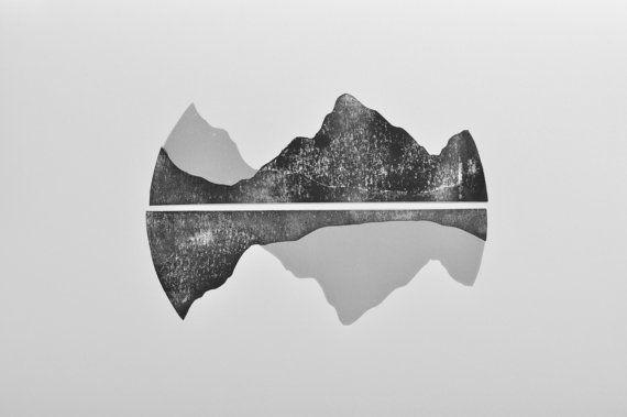 Gamme (montagnes) - Gravure main tiré linogravure originale