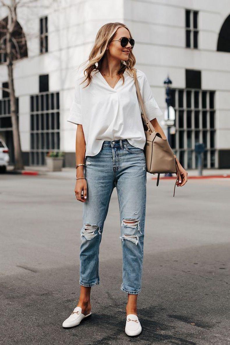 11 mejores imágenes de Camisa blanca y vaqueros | Moda para