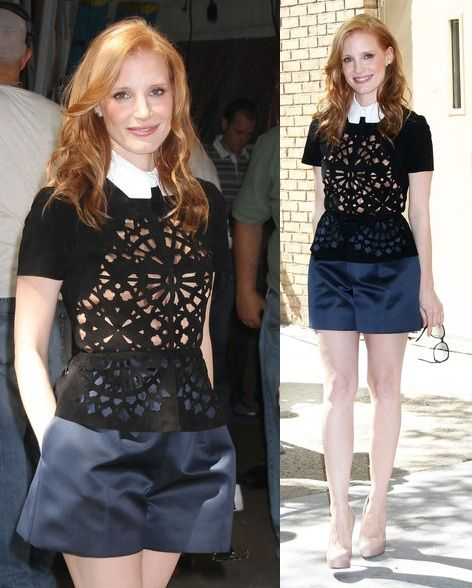 Jessica Chastain in Carven - 'Live with Kelly' Appearance