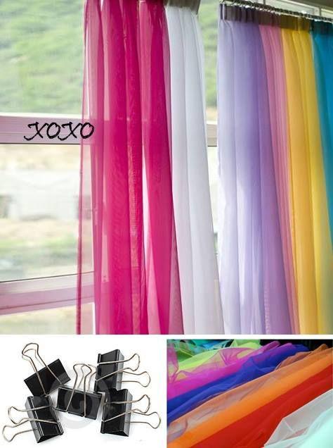 cortinas hechas con tiras de tul