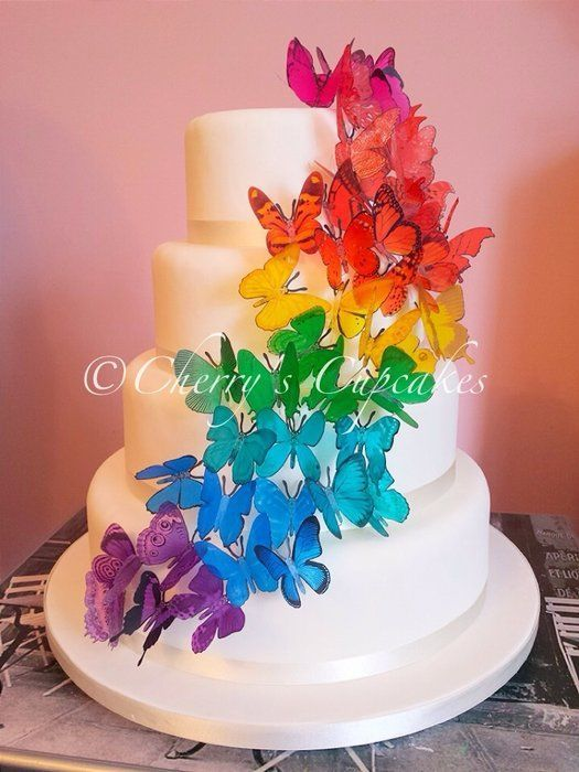rainbow flower wedding cake rainbow wedding cakes rainbow butterfly cascade wedding 18958