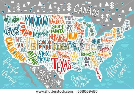USA map with states - pictorial geographical poster of America, hand ...