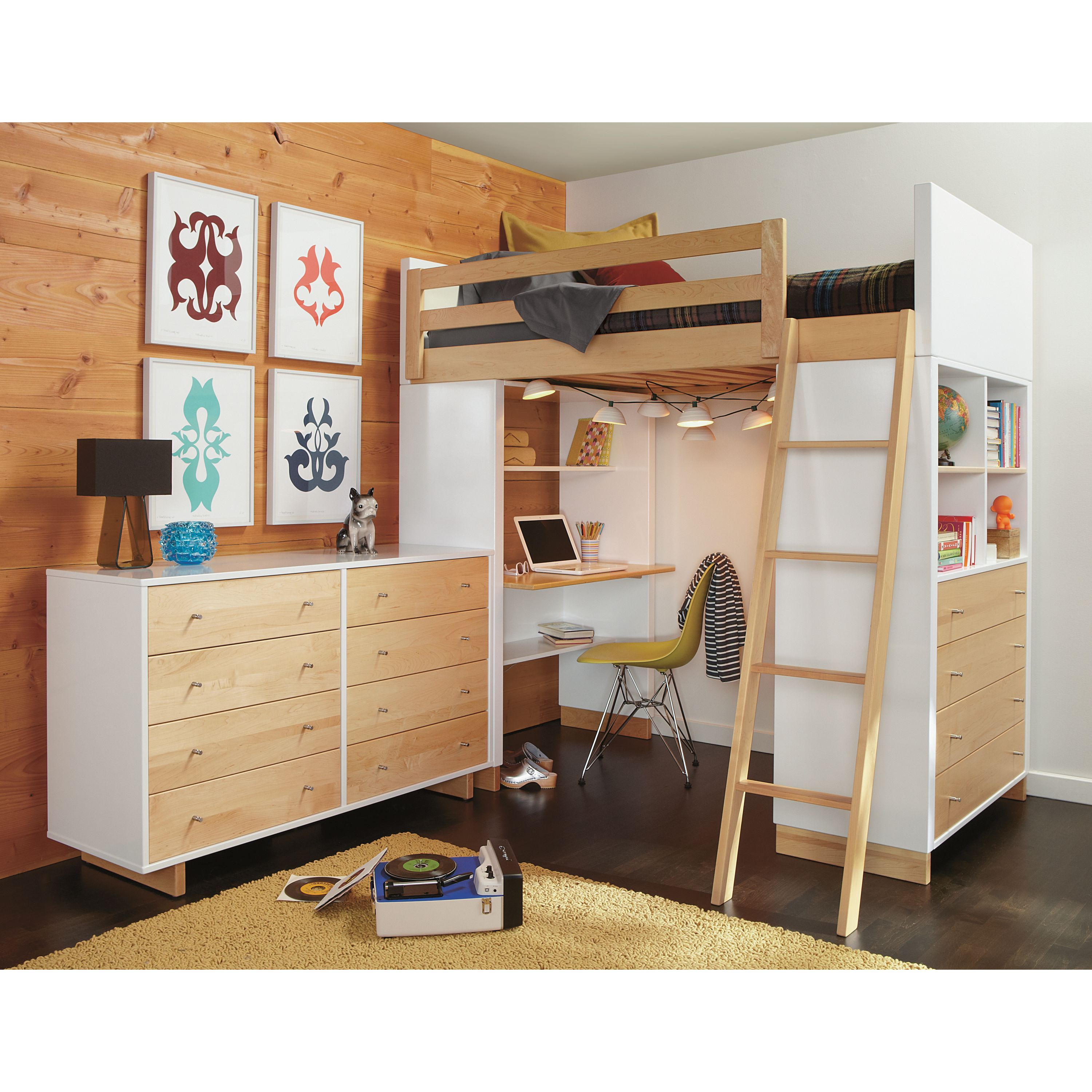 Loft bed with desk underneath  Moda Loft Beds with Desk and Dresser Options  Products  Pinterest