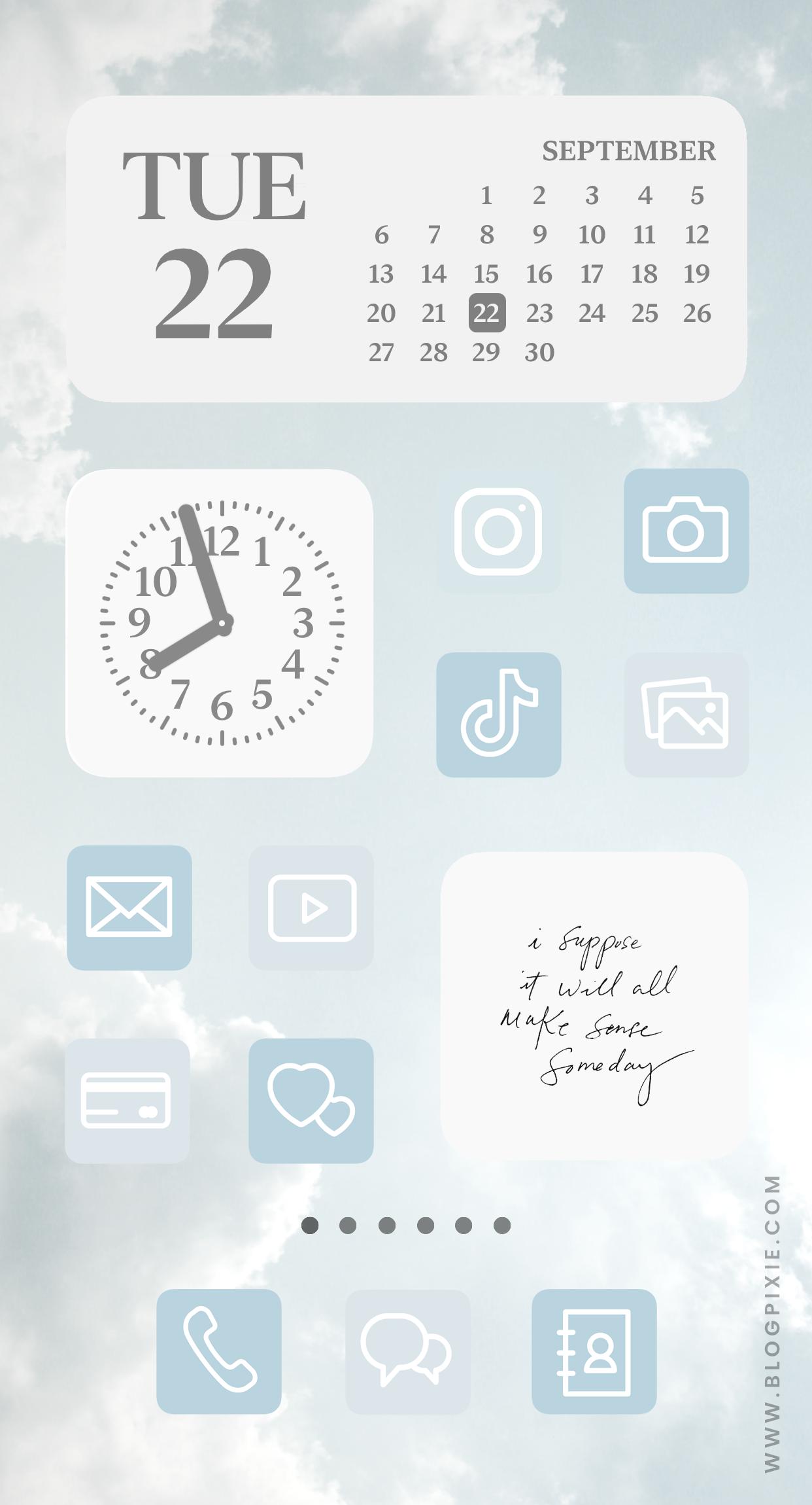 IOS 14 Home Screen Ideas Blue Aesthetic