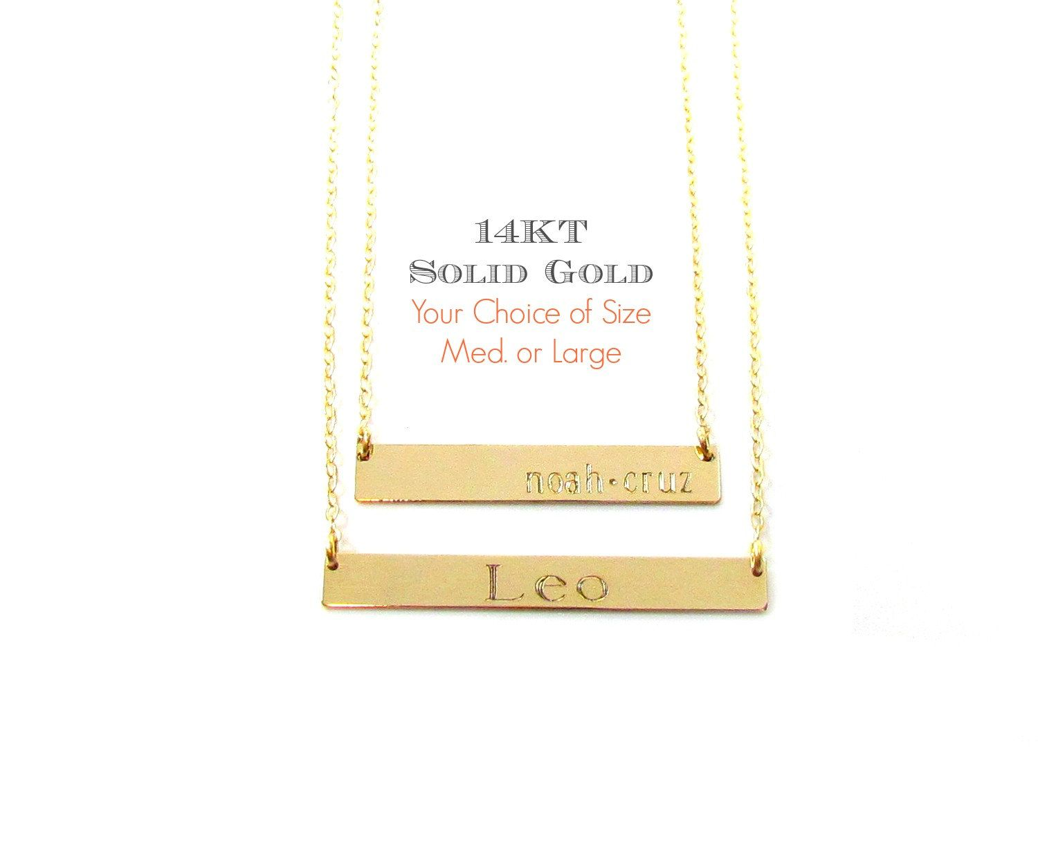 14KT Solid Gold Bar Necklace, Engraved Bar Necklace, Personalized Nameplate, Roman Numeral Necklace in Solid 14KT Yellow & White Gold