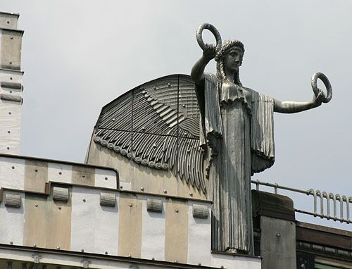 Modern Architecture Vienna art deco sculpture on top of the post office bank in vienna