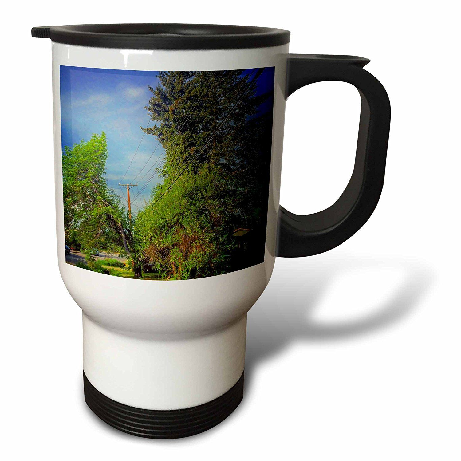 #coffee #mug #drivesafe #commuter #travel #cup #drink #gifts #art Amazon.com: DYLAN SEIBOLD - PHOTOGRAPHY - TREES BY HOUSES - 14oz Stainless Steel Travel Mug (tm_244551_1): Kitchen & Dining