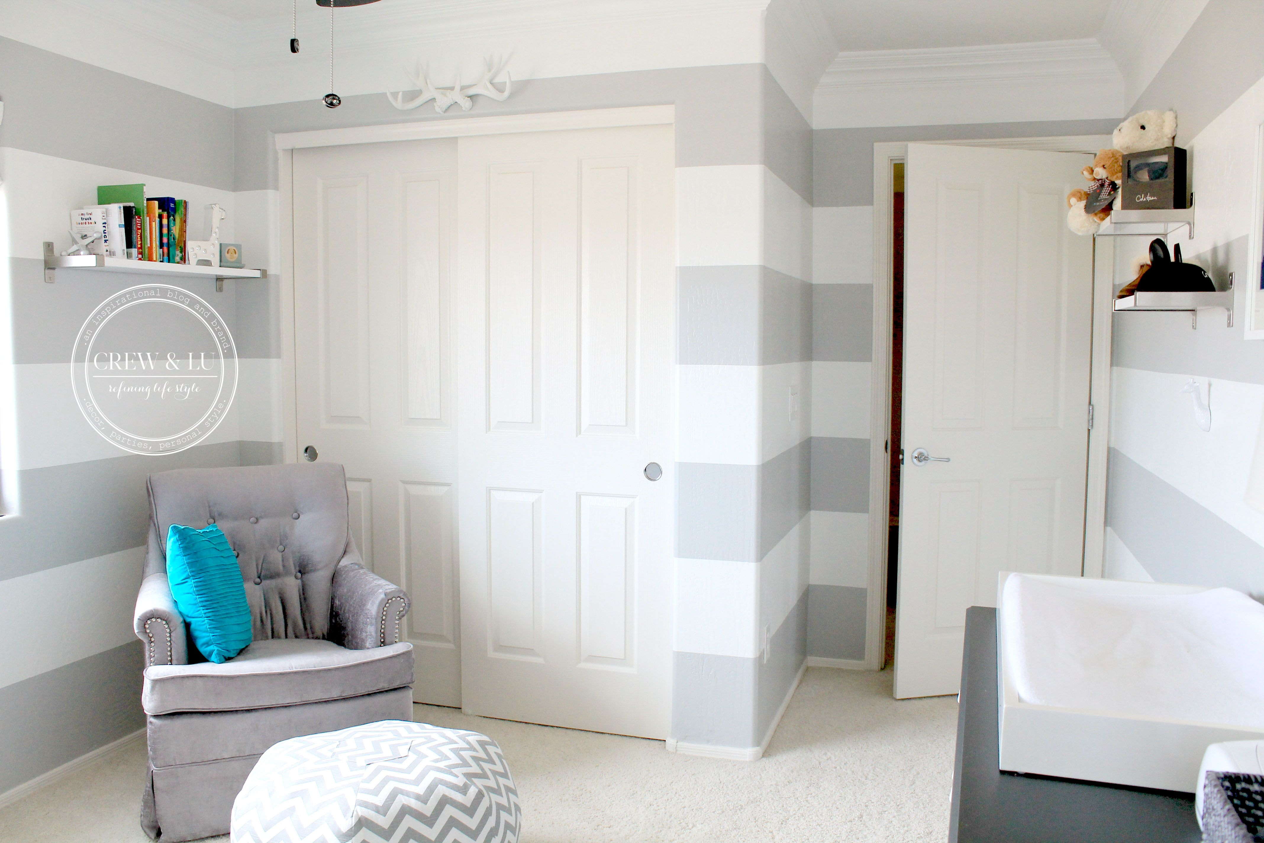 Grey and white striped nursery Striped walls horizontal