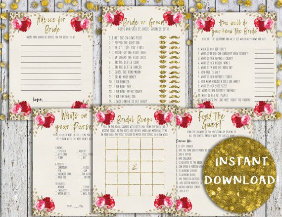 Bridal Shower Games Pack Wedding Set Printable Cheap Instant Download Ideas
