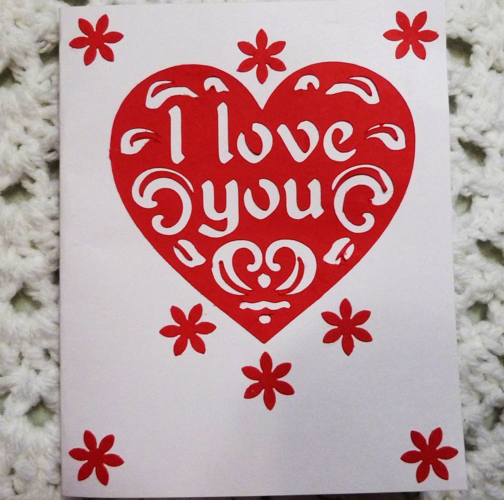 I Love You Greeting Card Red On Wqhite Heart Greeting Card