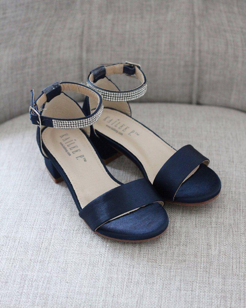 Navy Blue Satin Block Heel Sandals With Mini Rhinestones Embellished Ankle Strap In 2020 Navy Block Heels Block Heels Sandal Sandals Heels