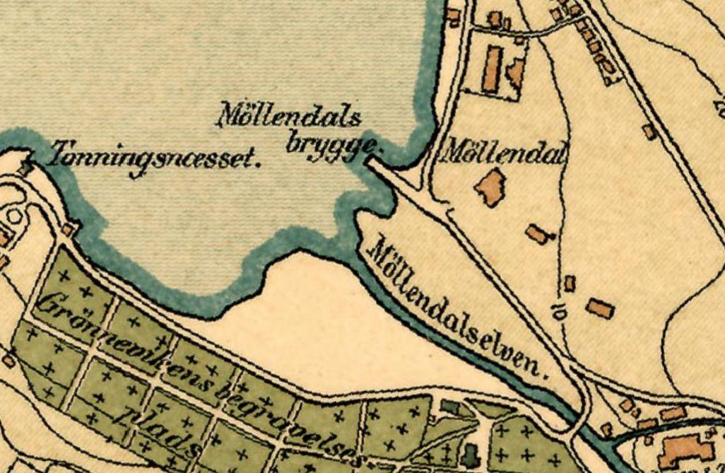 kart over eiendom Kart over Møllendal i 1881. Thesens eiendom lå ganske alene rett  kart over eiendom