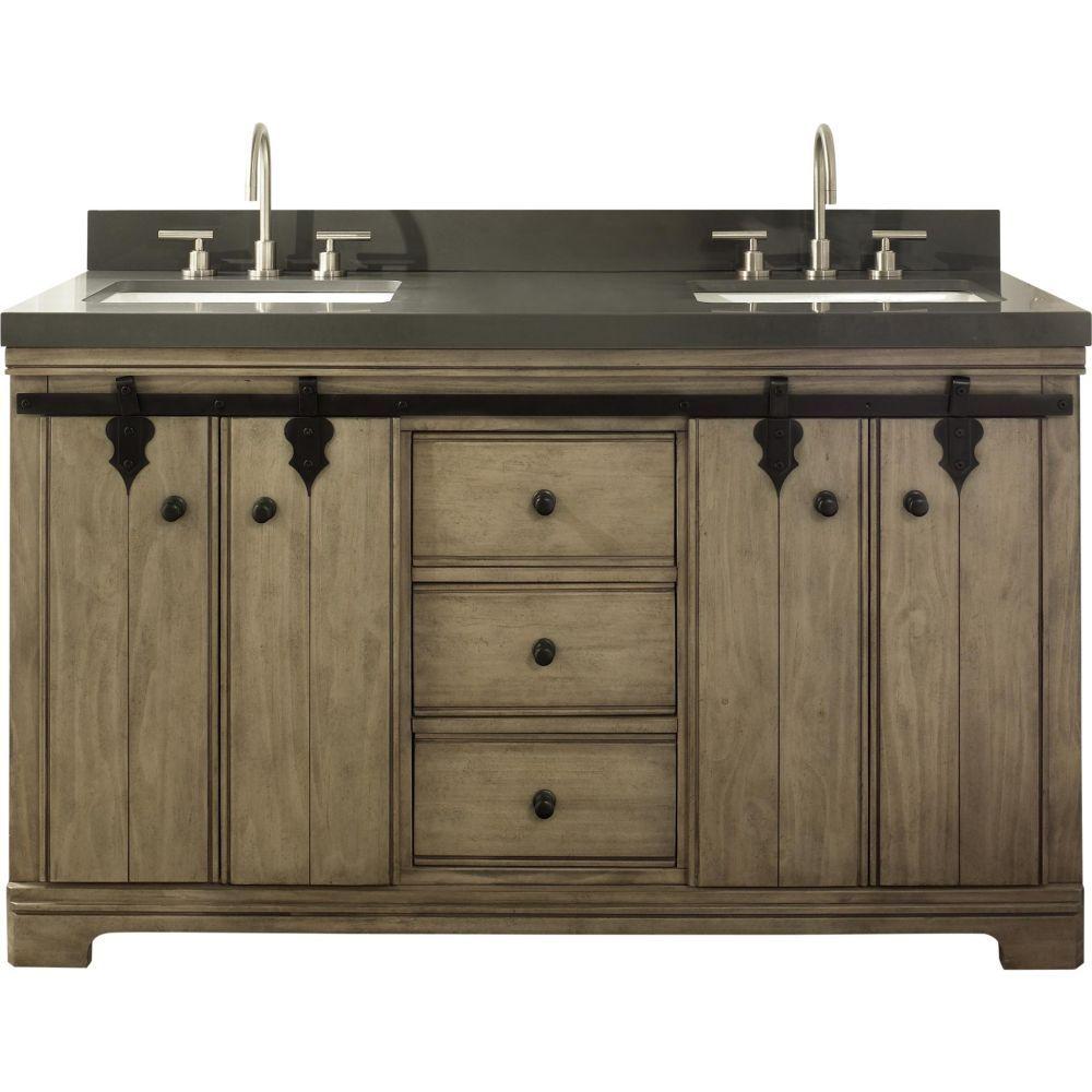 The Fairmont Designs 1526 V6021d Double Bowl Bathroom Vanity Windswept Pine 60 X 21