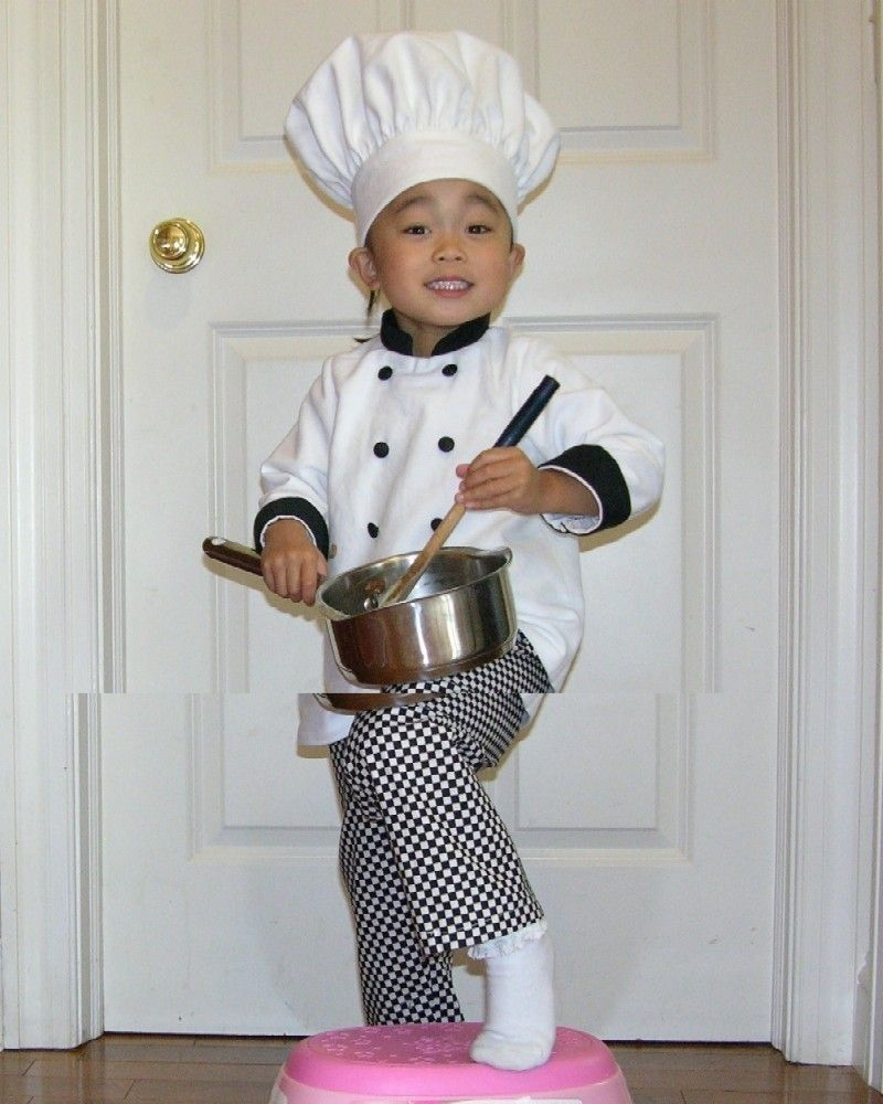 toddler Chef hat, coat, and pants Halloween costume, portrait ...