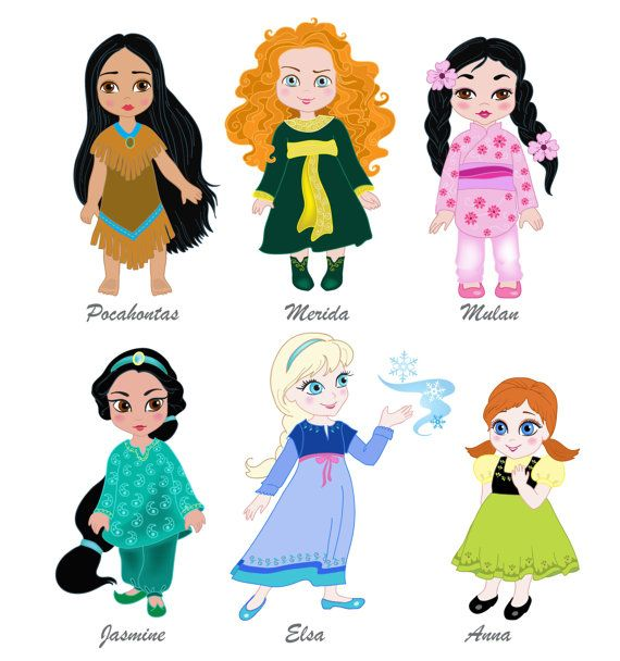 Princess in childhood.Digital Clipart Set Baby little princess Disney  -Pocahontas, Merida,