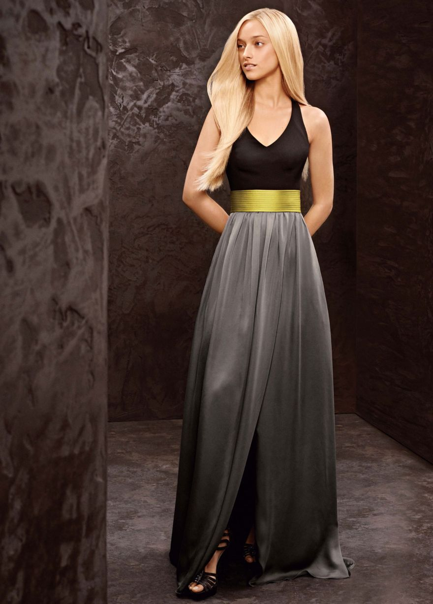 Long v neck halter gown with matte crepe bodice davids bridal long bridesmaid dresses davids bridal these would be wicked pretty with your colors ombrellifo Images