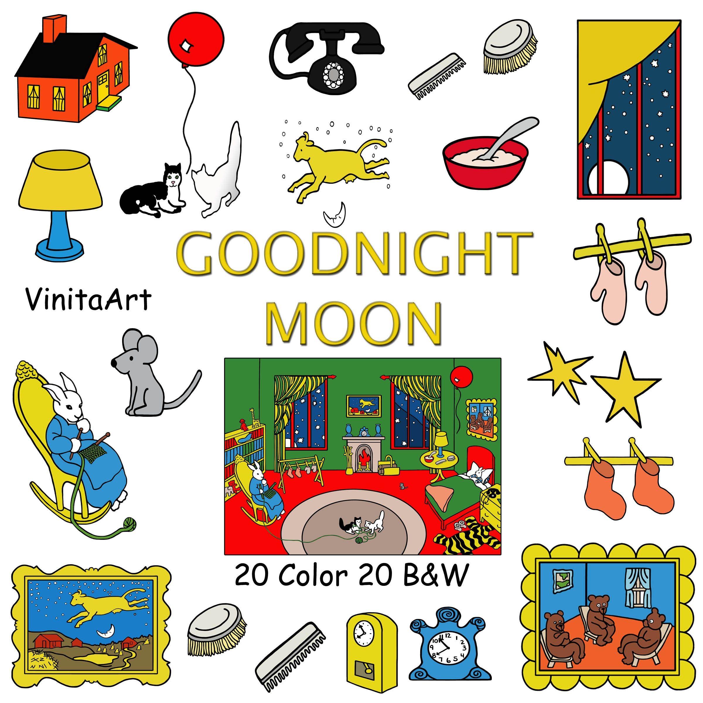Goodnight Moon Storybook Clip Art Printable Coloring Pages Etsy Good Night Moon Book Clip Art Goodnight Moon Book