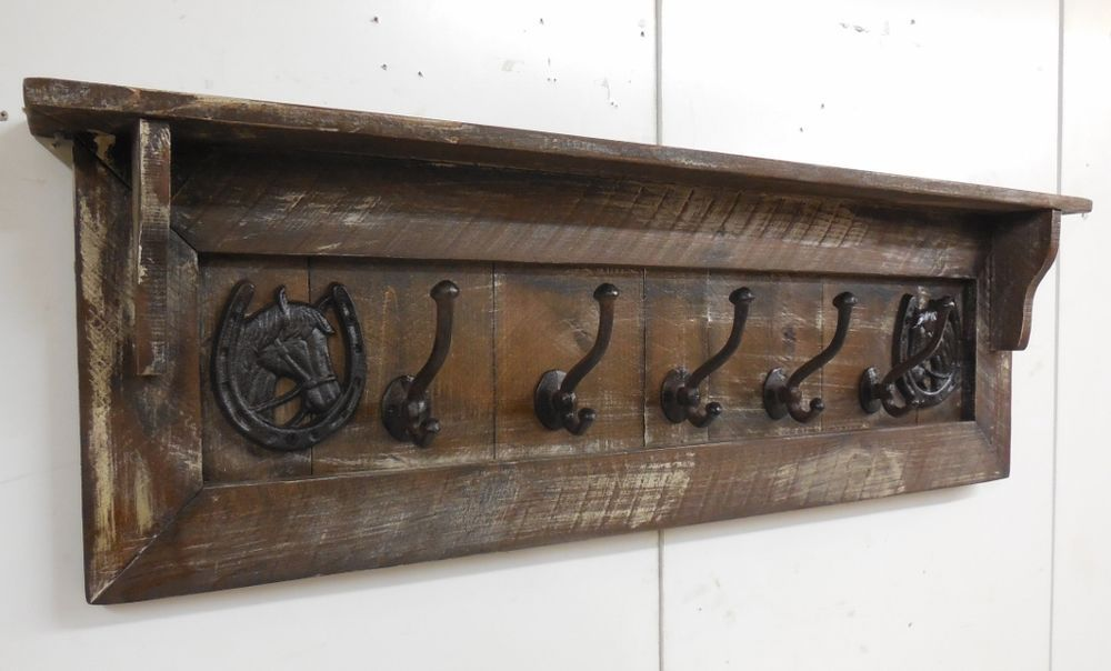 Western Coat Rack Horseshoe Custom Made Hall Tree Primitive Naiveprimitive
