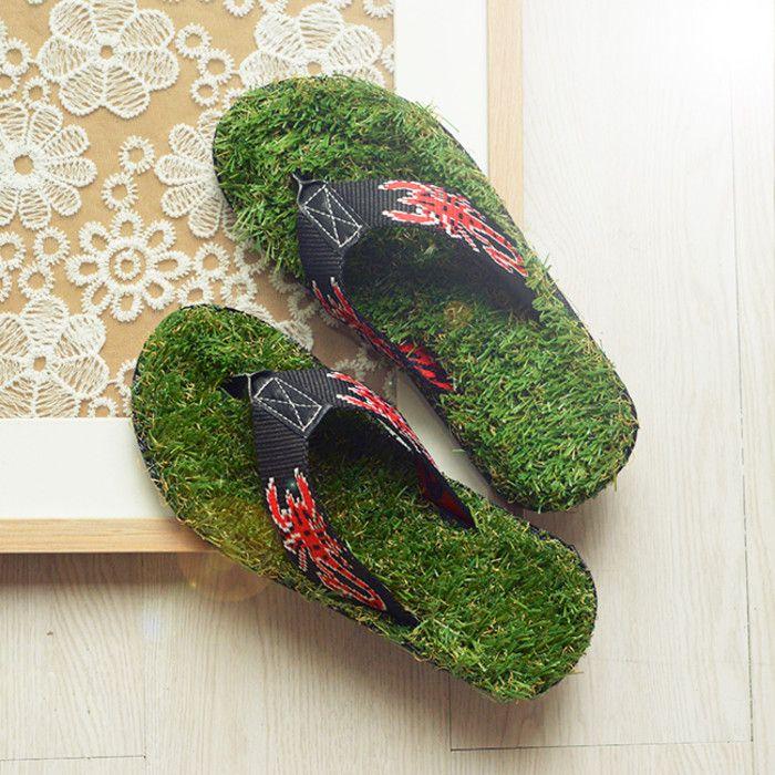 泰国纯手工制作的原创夏季青草绿绿 踏青草地拖鞋人字拖