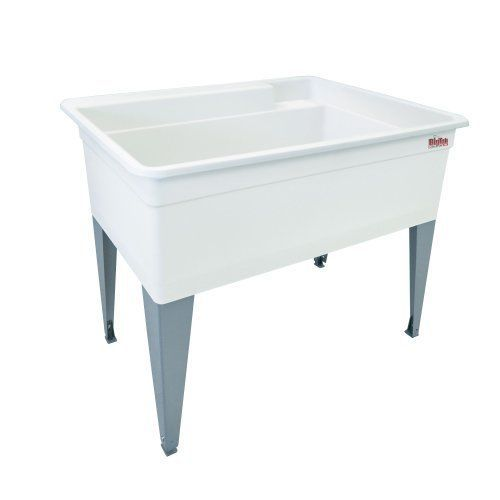 Large Laundry Tub Floor Mount Utility Sink Indoor Outdoor Heavy Duty White  New #Mustee