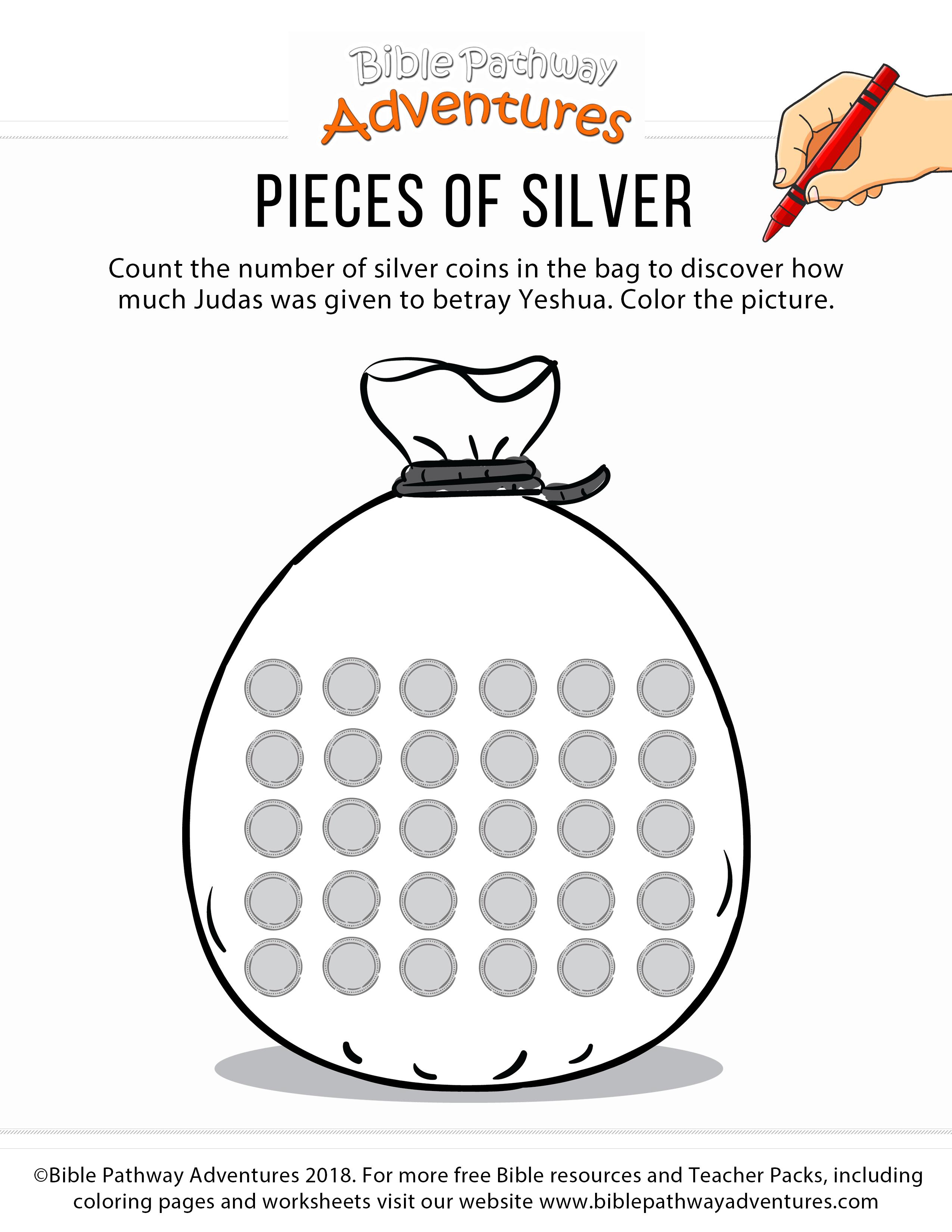 Judas Bible Coloring Activity Pieces Of Silver