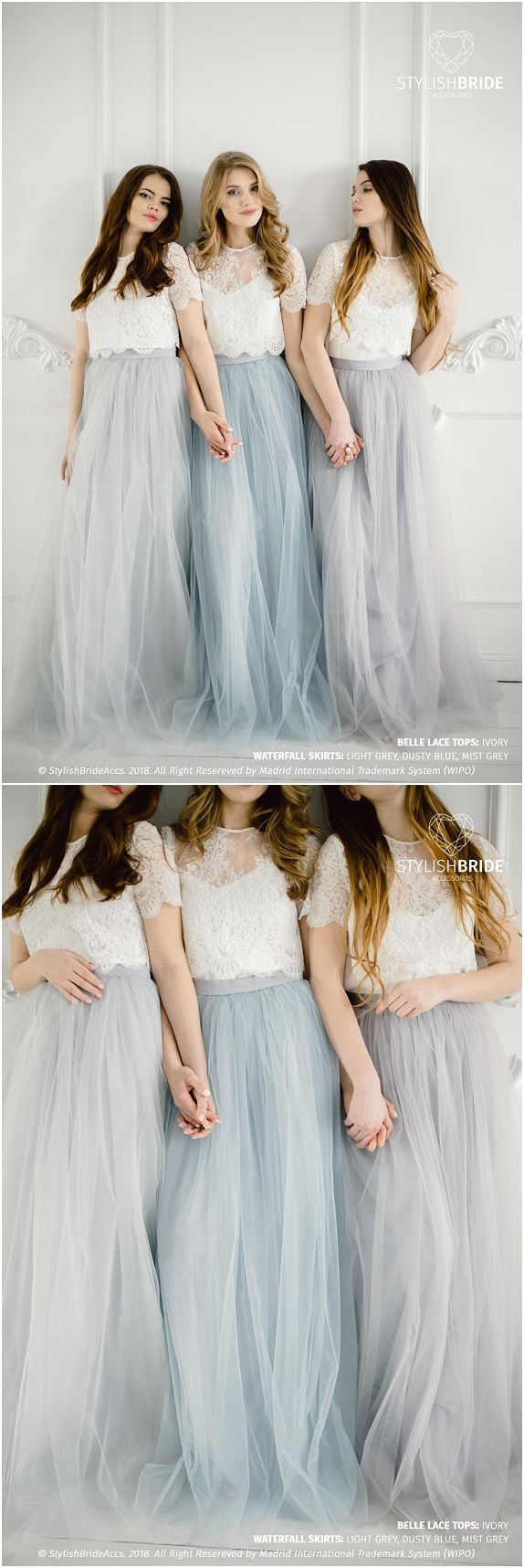 Grey blue palette bridesmaids belle lace dress long grey dusty blue