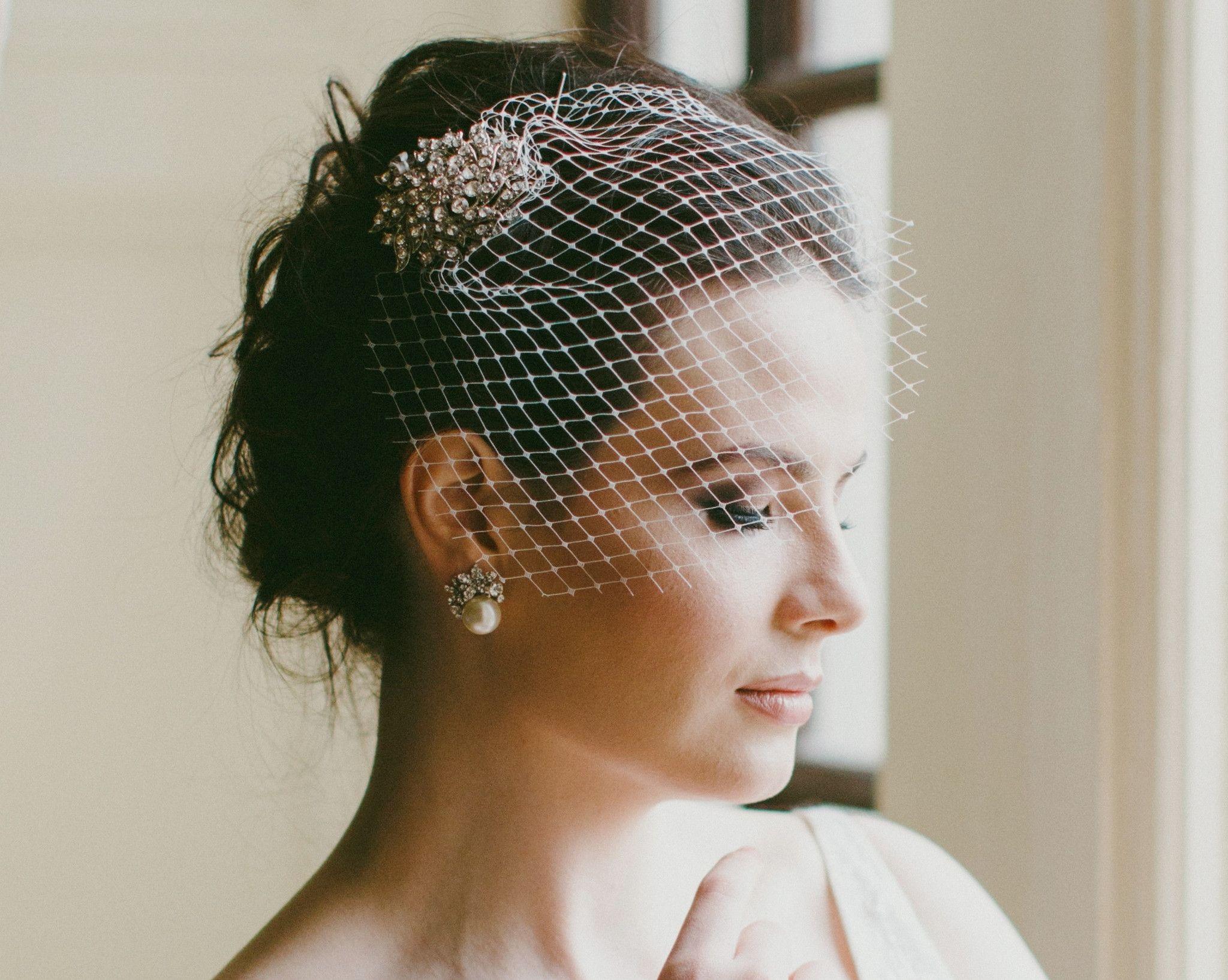 antique style hair clip with birdcage veil, bianca | wedding hair