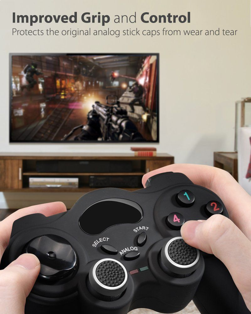 Fosmon [Set of 4] Analog Stick Joystick Controller Performance Thumb Grips  for PS4 PS3 Xbox ONE ONE X ONE S 360 Xbox 360 Wii U White # ...