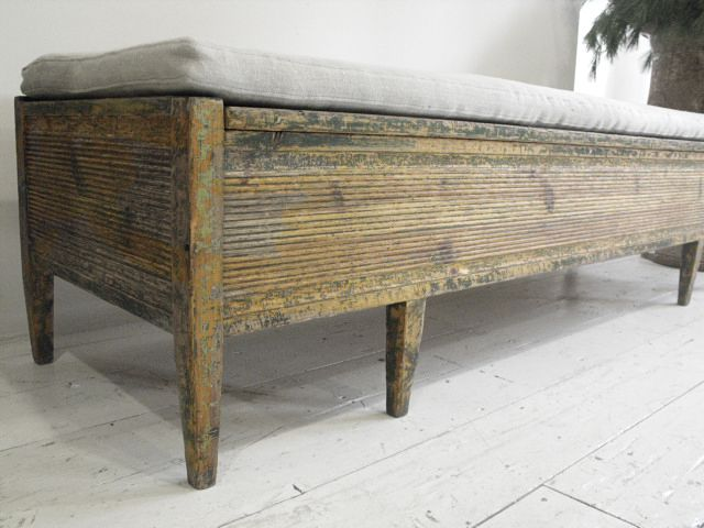 Anton Swedish Provincial Thc Bench In Antique Linen This Upholstered Storage