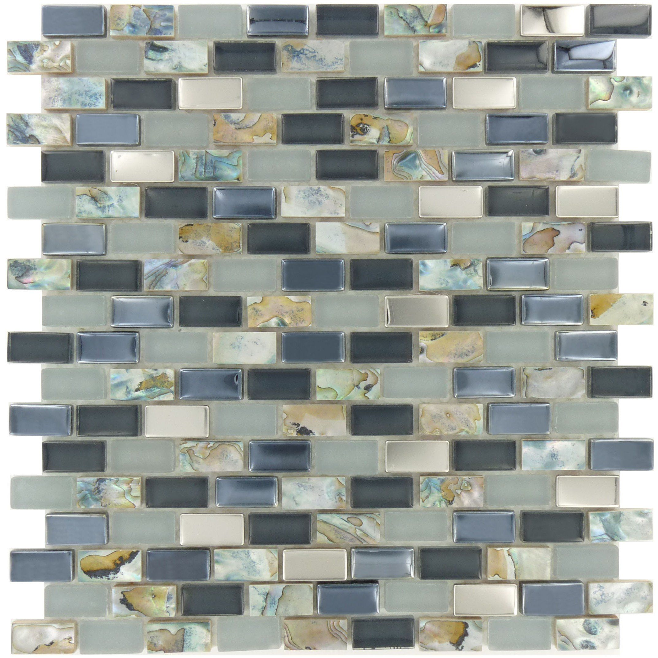 "Stormy Grey Uniform Brick ""Glass Stone & Metal"" Glossy & Frosted Tile"