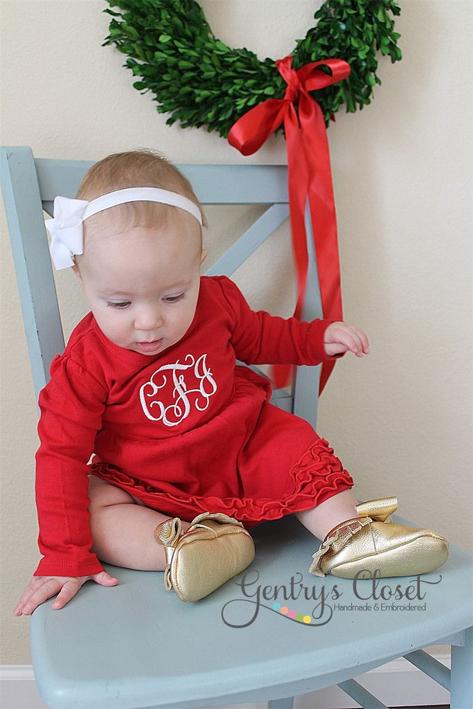 Christmas Dress with Embroidered Monogram Red Ruffle dress for baby
